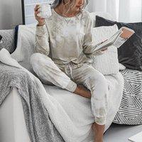 Litthing estampado leopardo Dos conjuntos de piezas pijama Mujeres chándales de los pantalones de piel de las mujeres ropa de noche larga Traje Inicio Mujer Ropa de dormir