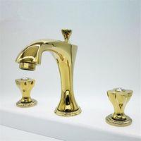 Tuqiu Bacia torneira de ouro torneira de banheiro 3 buraco widéspread bacia misturador quente e frio latão pia água torneira nova