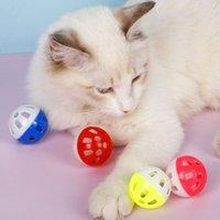 الحيوانات الأليفة جوفاء الحيوانات الأليفة البلاستيك الكرة الملونة لعبة مع جرس صغير محبوب جرس صوت البلاستيك التفاعلية الكرة الرنين جرو لعب اللعب EEF4005