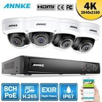 أطقم الكاميرا اللاسلكية Annke 8ch 4K Ultra HD PoE شبكة نظام أمن الفيديو 8MP H.265 + NVR مع 4 قطع مانعة لتسرب الماء IP CCTV كيت