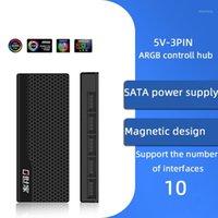 1 till 10 12V 4PIN RGB AURA 5V 3 PIN-kod ARGB RGBW Kabel Splitter HUB Väska W / Tape Extension Cable Adapter LED Strip Light PC RGB Fan1