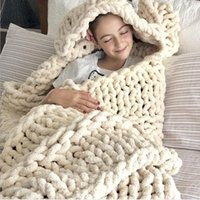 Chenille Blanket INS Handmade 2.5 CM Thick Yarn Woven Stick Chunky Knitting Blanket Sofa Cover Mat Throw Blankets Photography