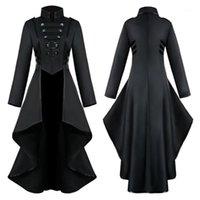 Giacche da donna Plus Size Donne Gothic Steampunk Button Jacket Giacca Femminile Pizzo Corsetto Moda Costume di Halloween Cappotto lungo Ladies Solid TailCoat1