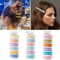 12 Pieces a Card Large Solid Color Bangs Hairpin Plastic Hairclip Hair Accessories for Girls A9q2