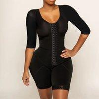 2020 Saf Renk Shapewear Yeni Göğüslü Tek Parça Shapewear Yüksek Sıkıştırma Faja Uzun Kollu Bel Trainer LJ201210