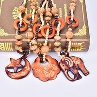 Große Fisch Elefant DIY Perlen Anhänger Halskette Ozean Winde Stil Holz Hand Geschnitzte Modeschmuck Für Frauen Geburtstagsgeschenk1
