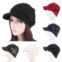 القبعات 2021 الأزياء الدافئة المرأة قبعة الترتر زهرة تويست الحياكة بريم في فصل الشتاء الفضفاضة الملونة الإناث قبعة قبعة 1