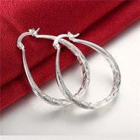 Orecchini placcati in argento sterling in argento sterling piccoli ovale taglia 3.9cmx3.2cm DMSE295, Best 925 Silver Plate Hearring Jewelry Hoop Huggie