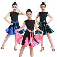 Vestidos para niños para niñas Latin Ballroom Playa Concurso Disfraces sin mangas Sólido Arco Práctica Etapa de práctica Vestido de rendimiento 110-160cm1