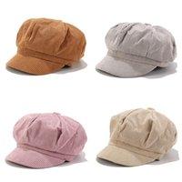 Chapeaux d'octogonal de velours côtelé rétro pour femmes hommes Mode Vintage Newsboy Cap Casual littéraire peintre chapeau Béret Cap Hiver automne