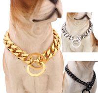 15mm Köpekler Eğitim Booke Zincir Yaka Büyük Köpekler Pitbull Bulldog Güçlü Gümüş Altın Paslanmaz Çelik Jllslf Home003