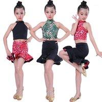 Etapa desgaste niños niña práctica latino baile vestido competencia rendimiento ropa rojo negro costura dialwear falda1