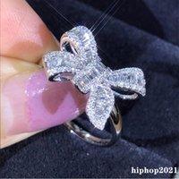 패션 보우 사다리 다이아몬드 반지 925 스털링 실버 도금 T 공주님 컷 화이트 토파즈 CZ 나비 결혼 반지 선물 여성을위한