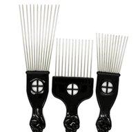 فرش العناية أدوات التصميم المنتجات إسقاط التسليم 2021 أسود بلاست مقبض فرشاة ستايت الصلب أسنان واسعة الشعر المعدنية اختيار أفرو مشط مع FIS