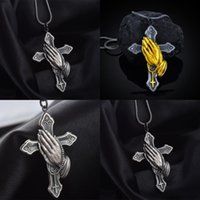 Иисус молитва рука мужчина ожерелье мужчины древние серебряные кресты подвески мода цепь религии стиль многоцветный новый поступление 3hja j2