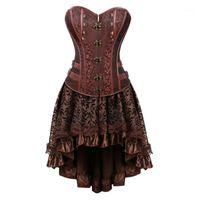 Steampunk Korse Elbise Kadınlar Vintage Cadılar Bayramı Korsan Kostüm Gotik Deri Korse Büstiyer Burlesque Etek Ile Brown1