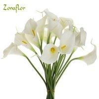 ZONAFLOR 20 adet / grup Dekoratif Çiçekler Calla Lily Yapay Çiçek PU Gerçek Dokunmatik Ev Dekorasyon Parti Düğün Buket Çiçekler T200103