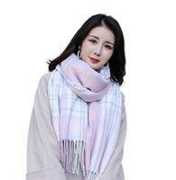 Sıcak ticaret yeni stil eşarp bayanlar sonbahar ve kış renk eşleştirme örme sıcaklık özel imitasyon kaşmir şal Avrupa ve Americ