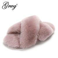 GRWG 100% Natural da pele de carneiro pele Chinelos Moda Feminina Inverno Chinelos morno mulheres Interior Lã chinelos macios Lady Início Shoes X1020