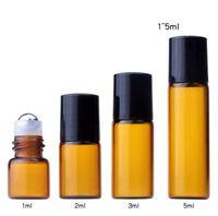 1 ml 2 ml 3 ml 5 ml Amber Rulo Şişeleri Mini Rulo Cam Şişe Uçucu Yağlar Için Doldurulabilir Parfüm Şişesi SN5012