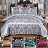 Luxury Seta Satin Jacquard Duvet Cover Set biancheria da letto Set di ricamo Set di letto classcial Stile Stile Copertina di trapunta e federa11