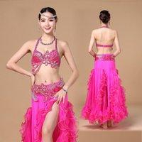 Escenario desgaste mujeres profesional vientre traje traje oriental conjunto de 3 piezas bellyded bellydance bellydance falds