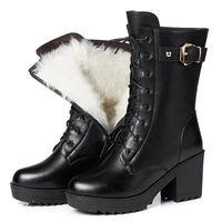 Botas de invierno de la señora con botas intermedias de terciopelo alto tacones y suelas gruesas zapatos de algodón de zapatos de algodón