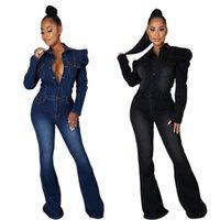 Moda Mujeres Plus Tamaño Jeans Juntsuits Turn-Down Cuello Mangos de soplo Single-Breasted Ling Flowed Denim Rampers de alta calidad 2021