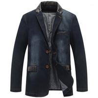 Neue Herbst Casual Denim Jacke Männer Winter Blazer Anzüge Herren Business Jacken Anzüge Leder Patchwork Männer Jeans Mantel M ~ 4XL MY1901