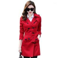 Talla grande XS-6XL Spring Autumn Womens Long Trench Coat 2020 Coreano Nuevo Corrector Sólido Para Mujer Casual Outer Outerwear Lady Coat1