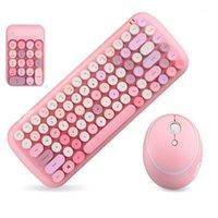 Keyboard mouse combos jelly pente sem fio para desketop portátil caderno 2.4g número pasta rosa menina e mouse1