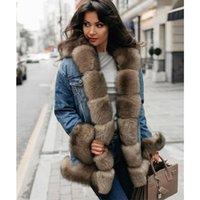 Tatyana Furclub Denim Winter Femmes Naturel Manteau de renard Épais Veste de fourrure Véritable Véritable 201125