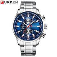 2021 Neue Curren Watch Herren Armbanduhr mit Edelstahlband Mode Quarz Uhr Chronograph Leuchtkörper Zeiger Einzigartige Sportuhren