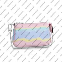 M69269 Escale مصغرة pochette accessoires النساء العملاق قماش مصمم مصمم مخلب القابض حقيبة صغيرة فضية سلسلة التعادل صبغ محفظة
