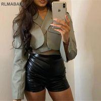 النساء يناسب الحلل 2021 الأزياء طبقة مزدوجة سترة معطف سليم بدوره أسفل الياقة طويلة الأكمام ضمادة اقتصاص دعوى أعلى أنيقة المرأة مثير