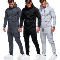 Men Track Suits Hooded Jacket Sweatsuit Sports Suits New Spo...