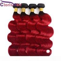 Ombre 1b rot körperwelle haare webt 3 stücke zwei tone rot brazillian jungfrau menschliche haare erweiterungen billig wellig dunkelwurzel rote ombre bündel