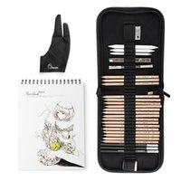 Marco 29 Adet Profesyonel Kroki Çizim Sanat Araç Kiti Grafit Kalemler, Kömür Kalemler, Kağıt Silinebilir Kalem, Craft Bıçağı T200107