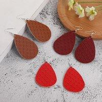 Boho Cross Print PU Leder Ohrringe Mode Lange Wasser Drop Baumeln Ohrringe Für Frauen Teardrop Nette Designer Schmuck Mujer