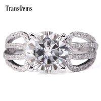 Transgems 3 CARAT LAB Grows Moissanite Diamond Обручальное кольцо Лабораторные Алмазные акценты Сплошные 14K Белые Золотые Женщины Свадебная группа Y200620