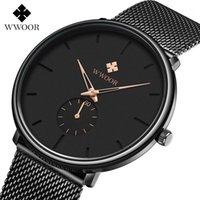 Наручные часы WWOOR мужские часы Водонепроницаемые спортивные мужские тонкие сетки ремень бизнес случайные кварцевые часы для мужских часов Reloj Hombre1