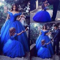 لطيف الأميرة الكرة ثوب زهرة فتاة فساتين خارج على الكتف الطابق طول الكرة ثوب الأزرق الاطفال حفلة عيد الميلاد أولا بالتواصل مخصص