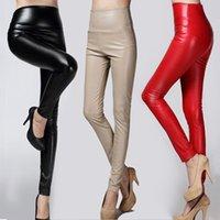 Otoño Invierno Mujeres delgada Velvet PU Pantalones de cuero femenino Sexy elástica Estirar Faux Cuero Skinny Lápiz Pantalón Pantalón Pantalón apretado 201103