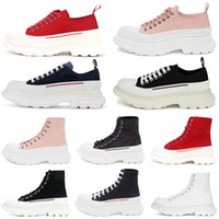 2021 Fashion Tread Slick Lace Up Canvas Sneaker Donne Alta Sole Black Royal Platform Red Rosa Rosa Bianco Donna Oversize Scarpe Sneakers # 52