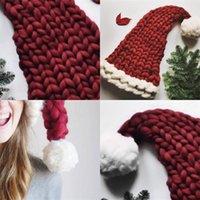 هدايا خريف شتاء إمرأة قبعة عيد الميلاد كيد الكبار القبعات مع منفوش الكرة الأحمر الحياكة نمط الأصالة كاب الأوروبي 23 8HR F2