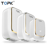 Topk LED 램프 자동 ID 휴대 전화 충전기 멀티 포트 Euus 플러그 USB 충전기 2 3 4 USB Tarvel 벽 충전기 어댑터 전화 FY7474