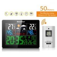 예측 온도 습도가있는 무선 날씨 역 EU 플러그 알람 및 스누즈 온도계 습도계 시계 1 악기