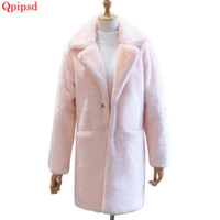 Korean Plush Fur Coat Female 2020 Winter Thick Long Faux Fur Coat Womens Solid Imitation Jacket Lady Overcoat