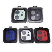 Cámara caliente de la película Vidrio templado para iPhone 12 12mini Pro Max 11 Cámara Metal Trasero Protector de pantalla Tapa completa con caja de venta al por menor