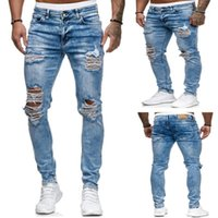 Jeans masculinos Destruido Hombres rasgados 2021 Skinny Mens Sexy Hole Hole Stretch Denim Pantalones Primavera Fino Lápiz recto Lápiz Pantalones largos Male1